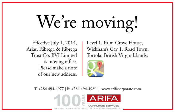 arifa about the firm news arifa bvi office move announcement